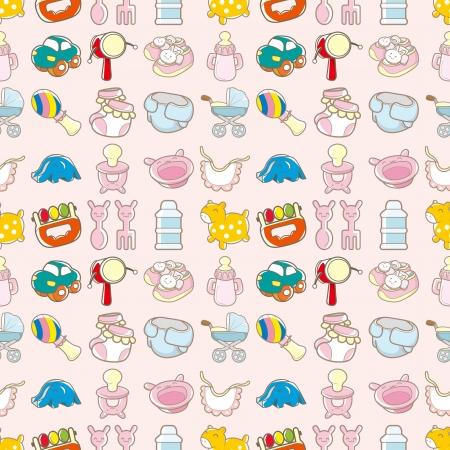 pezones: juguete sin fisuras patr�n de beb�, dibujos animados ilustraci�n vectorial