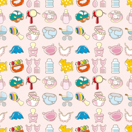seamless baby toy pattern,cartoon vector illustration Vector