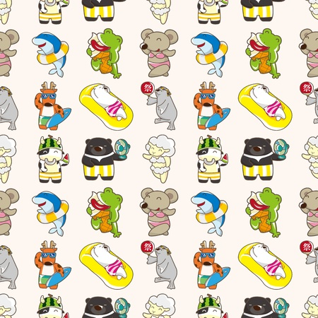 seamless summer animal pattern,cartoon vector illustration Vector