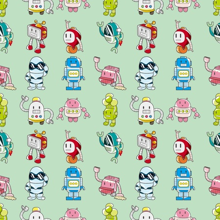 seamless Robot pattern,cartoon vector illustration Vector