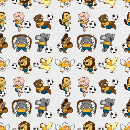seamless animal soccer pattern,cartoon vector illustration Vector
