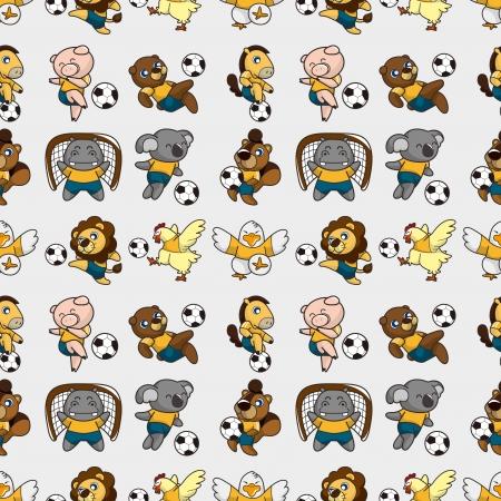 seamless animal soccer pattern,cartoon vector illustration Stock Vector - 16695696