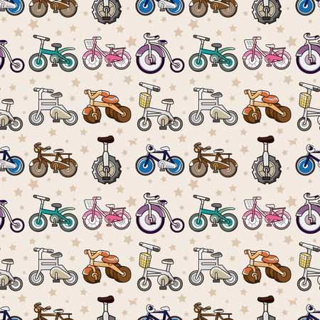 seamless bicycle pattern,cartoon vector illustration Vector