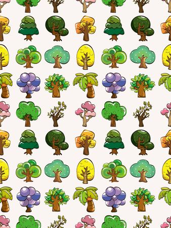 landscaped garden: seamless tree pattern,cartoon illustration