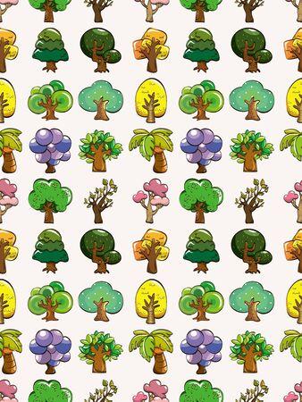 seamless tree pattern,cartoon illustration