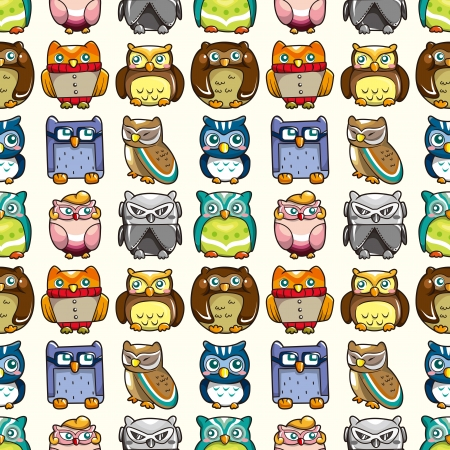 seamless owl pattern,cartoon vector illustration Vector