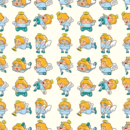 seamless angel pattern,cartoon illustration Vector