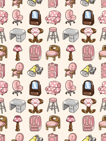 seamless furniture pattern,cartoon illustration Vector