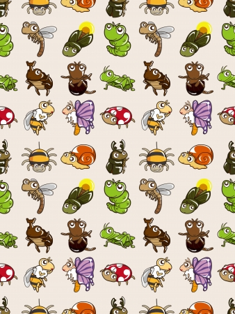seamless bug pattern,cartoon  illustration Vector