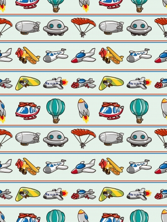 seamless airplane pattern,cartoon illustration Vector