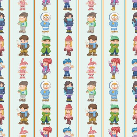 seamless winter people pattern,cartoon illustration