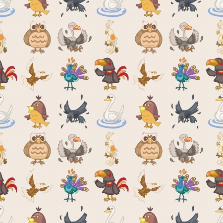 seamless bird pattern,cartoon illustration Vector