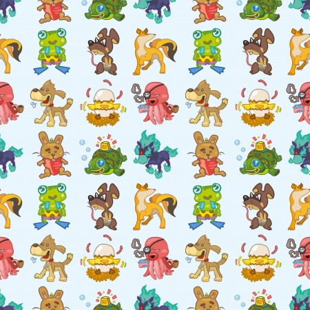 seamless animal pattern,cartoon illustration Vector