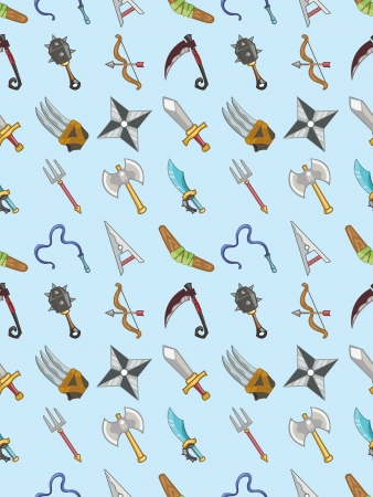 seamless weapon pattern,cartoon illustration Vector