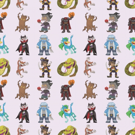 seamless story villain pattern,cartoon illustration Vector