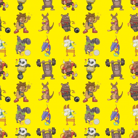 seamless animal sport pattern,cartoon illustration Vector