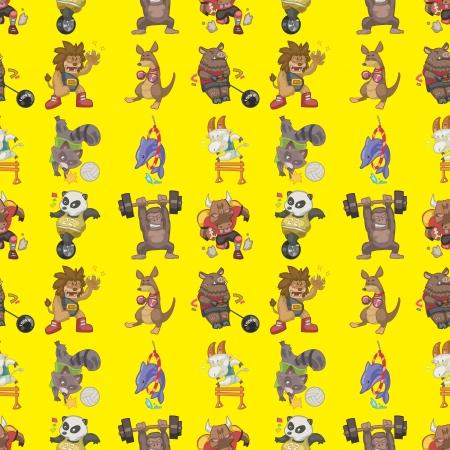 seamless animal sport pattern,cartoon illustration Vetores