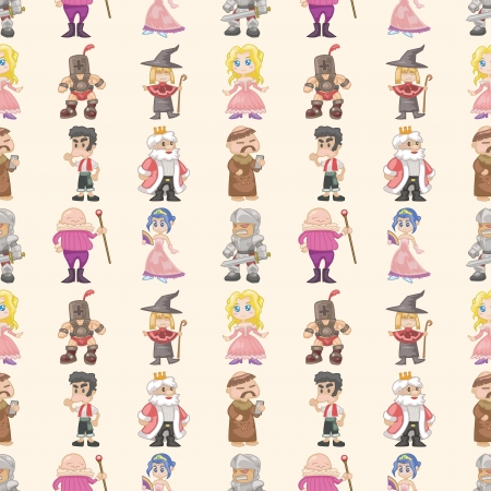 mage: seamless medieval people pattern,cartoon illustration