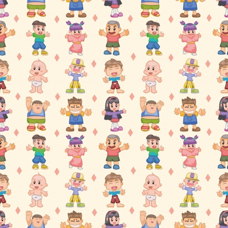 seamless child pattern,cartoon illustration Vector