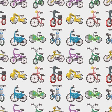 seamless bicycle pattern,cartoon illustration Vector