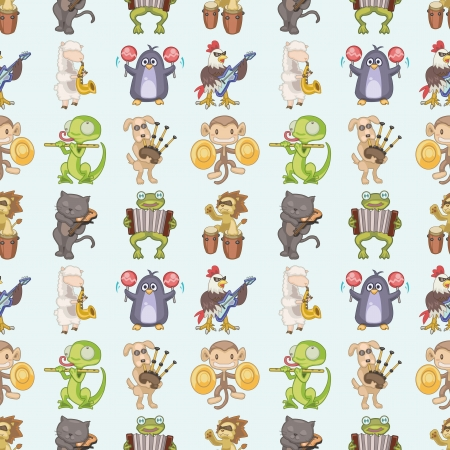 seamless animal play music pattern,cartoon  illustration Vector