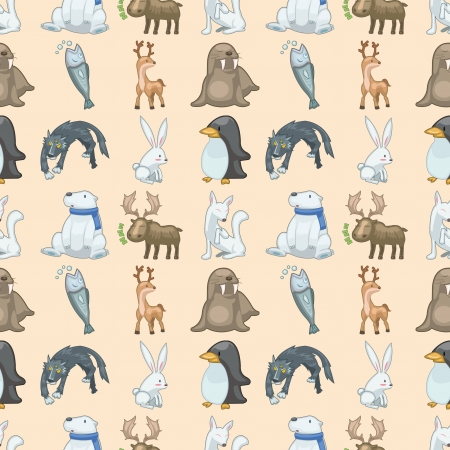seamless winter animal pattern Vector