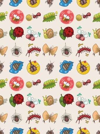 seamless bug pattern,cartoon vector illustration Vector