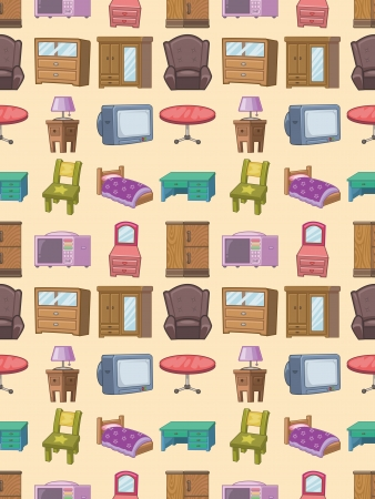 seamless furniture pattern,cartoon vector illustration Vector