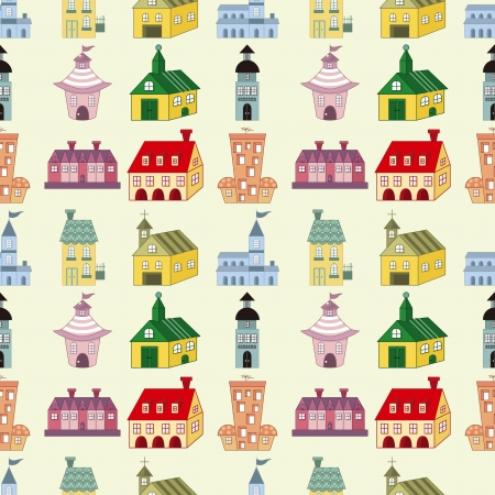 seamless house pattern,cartoon vector illustration Vector