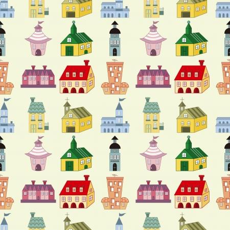 seamless house pattern,cartoon vector illustration