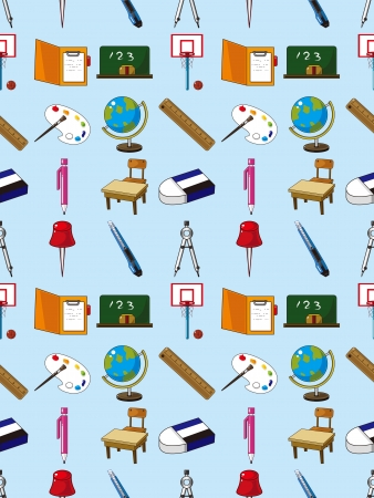 seamless school element pattern,cartoon vector illustration Vector