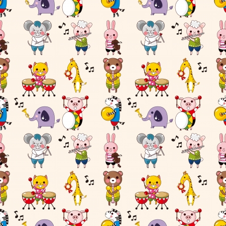 seamless animal music pattern,cartoon vector illustration Vector