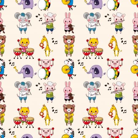 flutes: seamless animal music pattern,cartoon vector illustration