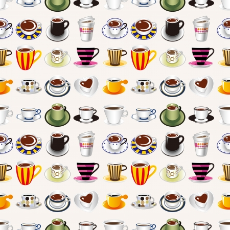 seamless coffee pattern,cartoon vector illustration Vector