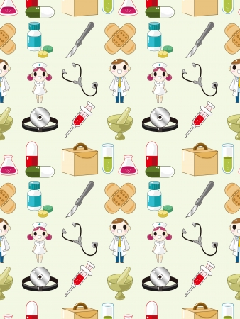 seamless doctor pattern,cartoon vector illustration Vector
