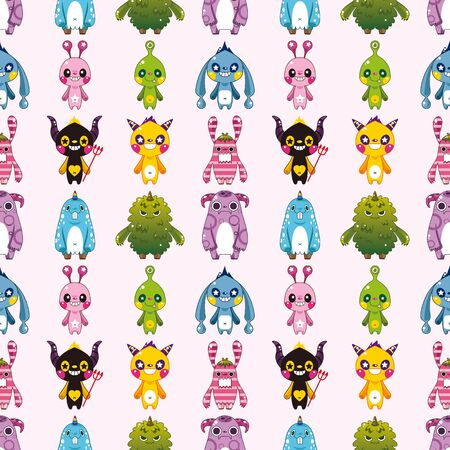 seamless monster pattern,cartoon vector illustration Vector