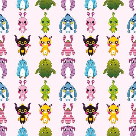whimscal: seamless monster pattern,cartoon vector illustration