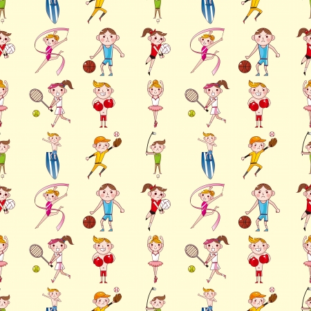 seamless sport player pattern,cartoon vector illustration Vector