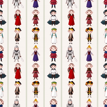wench: seamless medieval people pattern,cartoon vector illustration
