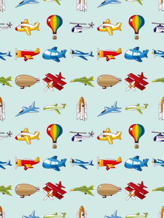 seamless airplane pattern,cartoon vector illustration Vector