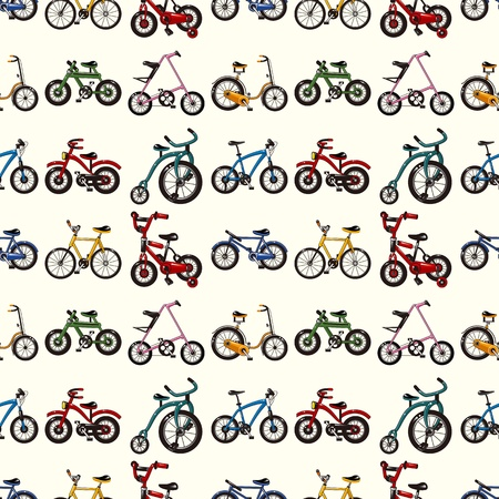 seamless bicycle pattern,cartoon vector illustration