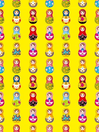 seamless Russian doll pattern,cartoon. Vector