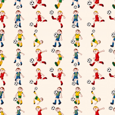 seamless soccer player pattern,cartoon vector illustration