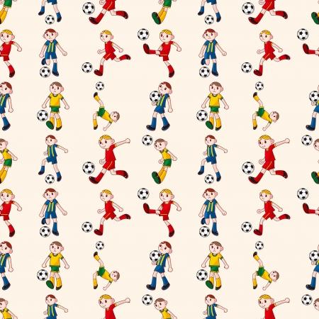 Fútbol sin patrón jugador, ilustración de dibujos animados vector