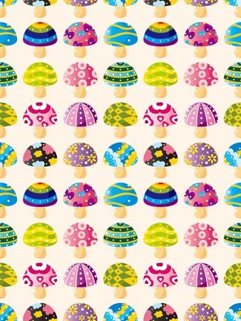 cilp: seamless mushroom pattern,cartoon vector illustration Illustration