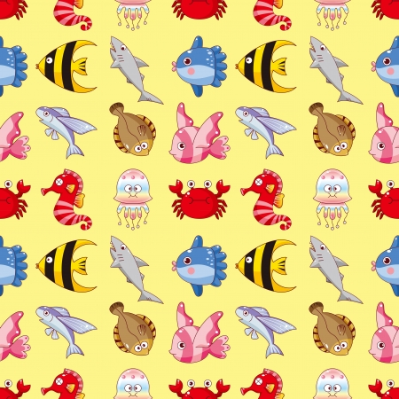 flounder: seamless fish pattern,cartoon vector illustration