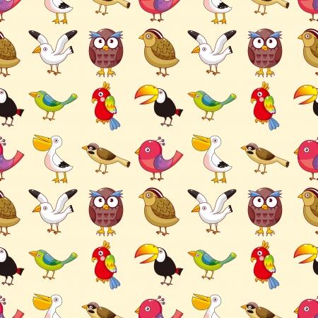 seamless bird pattern,cartoon vector illustration Vector