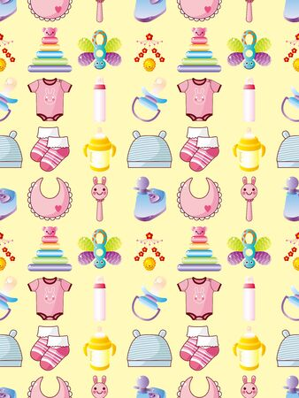 seamless baby thing pattern,cartoon vector illustration Vector