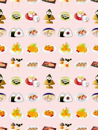 seamless Japanese food pattern,cartoon vector illustration Vector