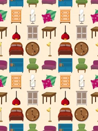sofa set: seamless furniture pattern,cartoon vector illustration Illustration
